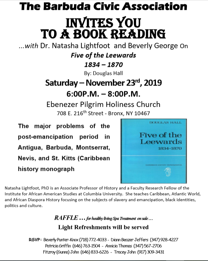"The Barbuda Civic Association Invites You To A Book Reading With Dr. Natasha Lightfoot and Beverly George on ""Five Of The Leewards 1834-1870"" by Douglas Hall"